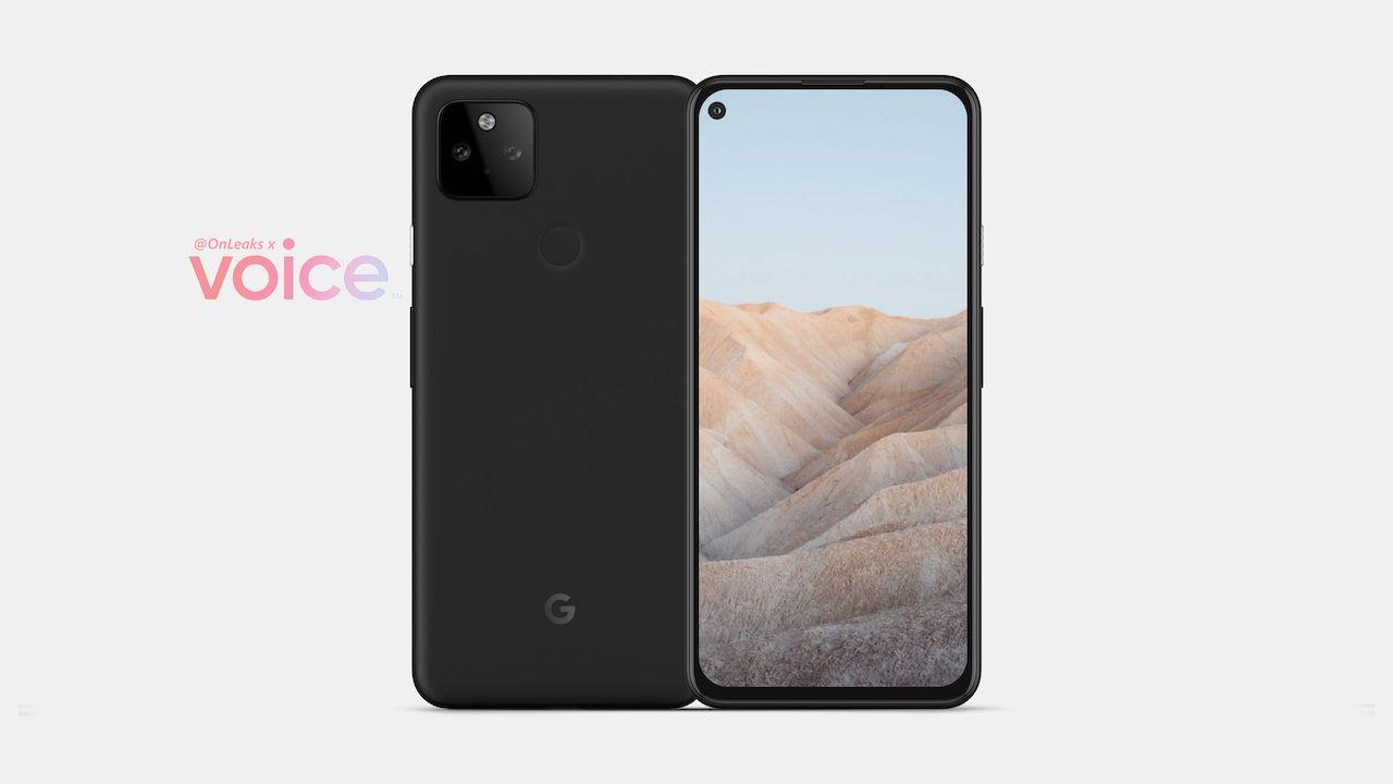 Google Pixel 5a avec un design de type Pixel 4a, une caméra à perforation unique, une configuration de caméra arrière double fuite