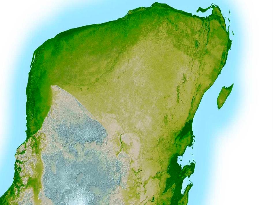Dans cette image améliorée par ordinateur, la limite extérieure du cratère Chicxulub est visible sous la forme de la ligne semi-circulaire verte plus foncée dans le coin supérieur gauche de la péninsule du Yucatan - un creux de 3 à 5 mètres de profondeur et 3 miles (5). kilomètres) de large.