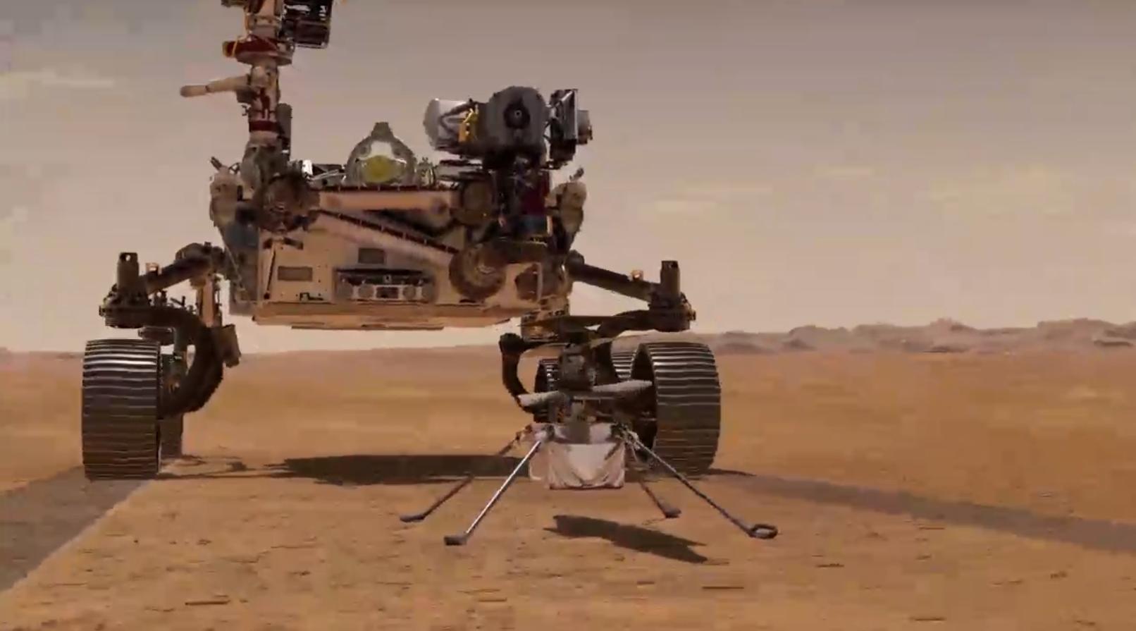 Représentation d'artiste de l'hélicoptère Mars Ingenuity se séparant du rover Perseverance de la NASA sur Mars.