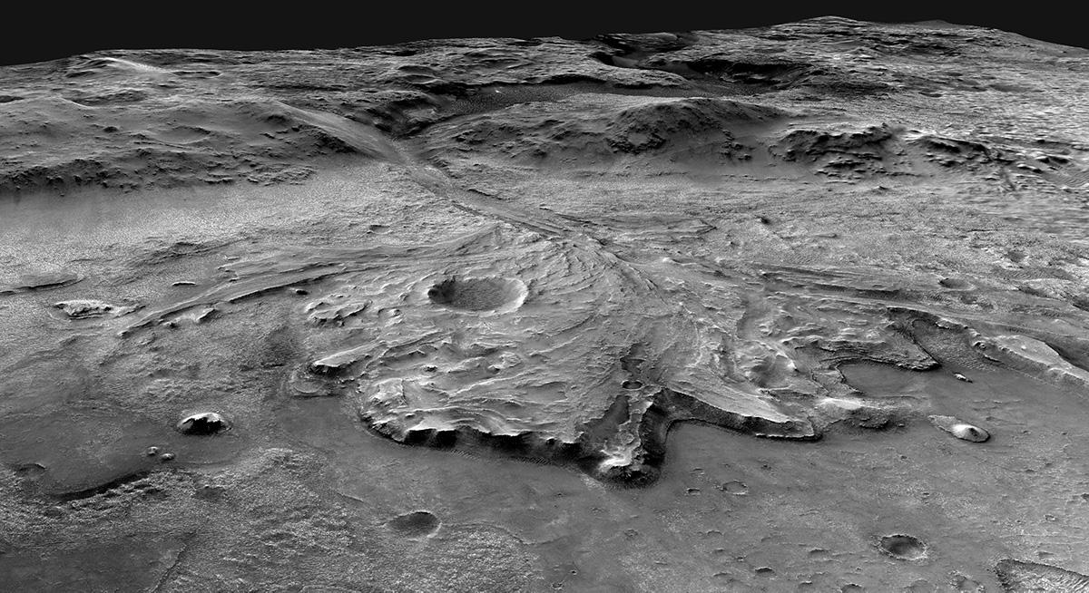 Une illustration montre le cratère Jezero, où le rover Mars Perseverance de la NASA cherchera des signes de vie ancienne.