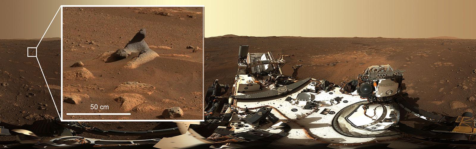 Cette roche sculptée par le vent, vue dans le premier panorama à 360 degrés pris par l'instrument Mastcam-Z sur le rover Perseverance Mars de la NASA, montre à quel point le système de caméra capture les détails.