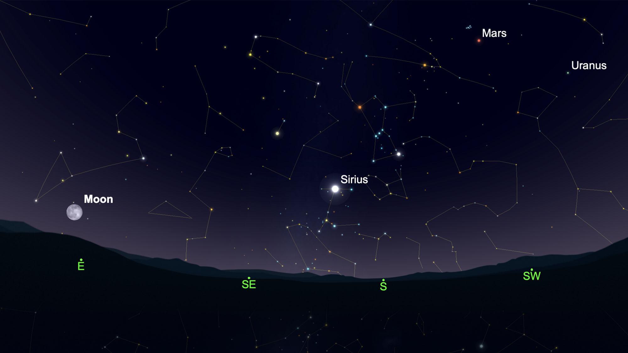 Mars sera haut dans le ciel sud-ouest lorsque la pleine lune de neige se lèvera le soir du samedi 27 février.