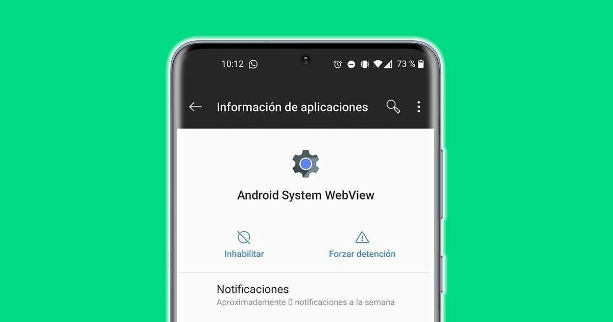 Application WebView du système Android sur un mobile