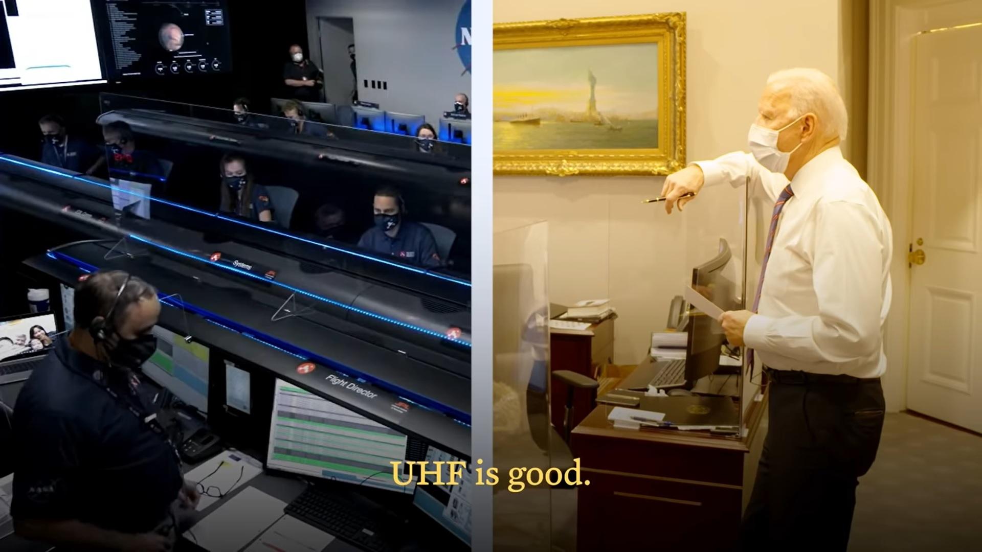 Cette image tirée d'une vidéo de la Maison Blanche montre le président américain Joe Biden en train de regarder la diffusion par la NASA de l'atterrissage réussi de Mars par le rover Perseverance le 18 février 2021.