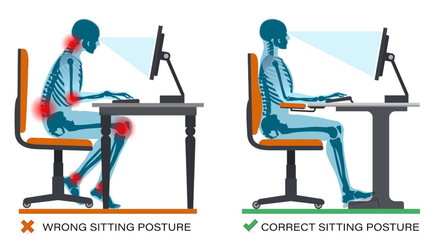 Hauteur du siège lorsque vous travaillez au bureau