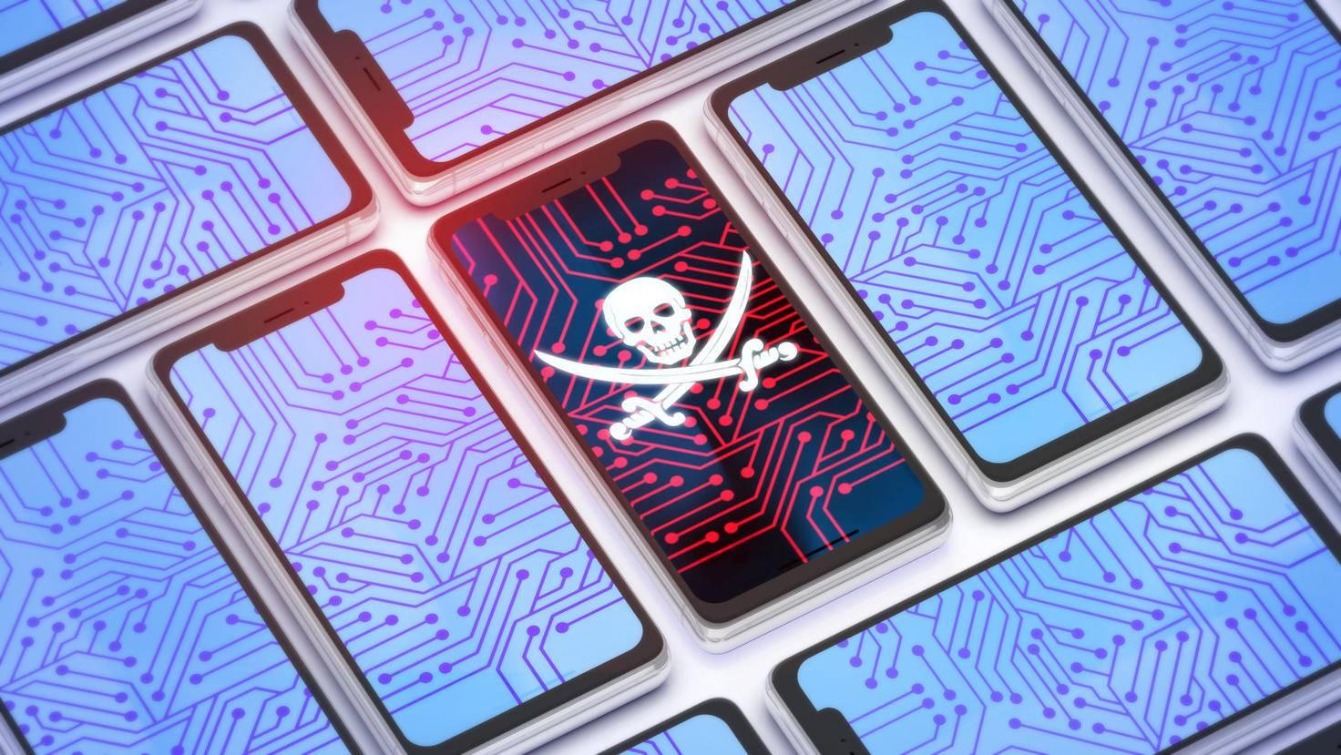 3d illustration du smartphone piraté isométrique B
