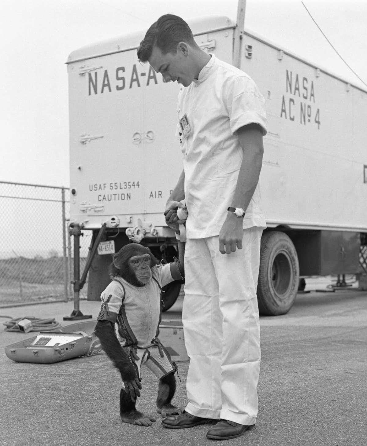 Ham avec l'un de ses maîtres le jour du vol spatial.
