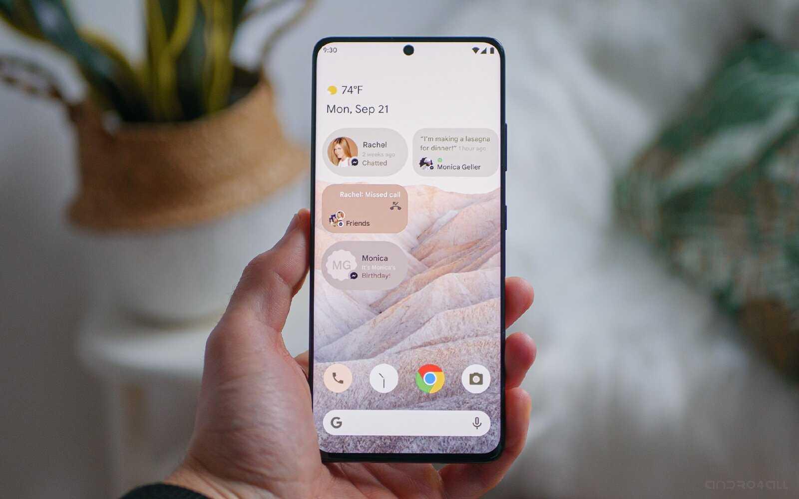 Le fond d'écran des captures d'écran d'Android 12 sur mobile