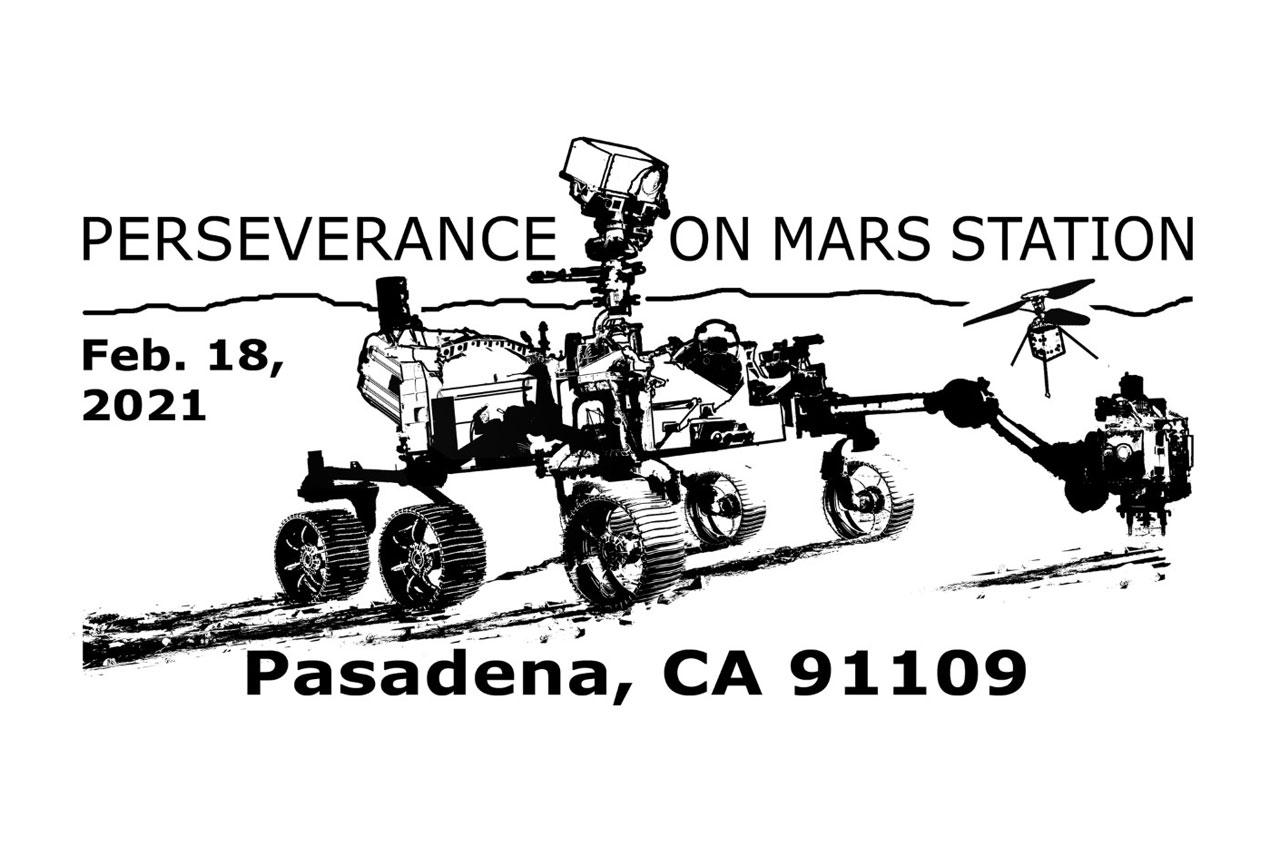 L'œuvre de Detlev van Ravenswaay pour le cachet de la poste USPS commémorant l'atterrissage du rover Perseverance de la NASA sur Mars.  Le dispositif d'encre se produira si le toucher des roues est réussi.