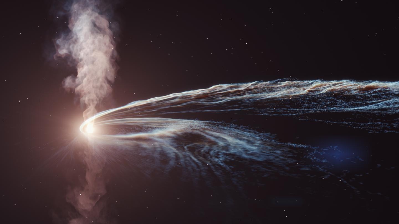 Après que le trou noir supermassif dans la galaxie 2MASX J20570298 + 1412165 ait déchiré l'étoile, environ la moitié des débris de l'étoile a été projetée dans l'espace, tandis que le reste a formé un disque d'accrétion brillant autour du trou noir.