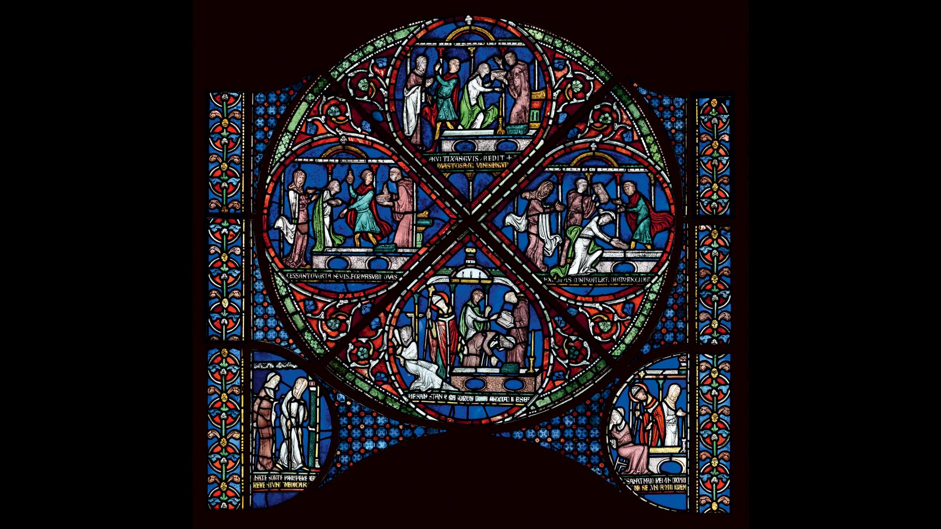 Cette séquence montre Saint Thomas en train de guérir Gobold des deux filles de Boxley, toutes deux boiteuses depuis leur naissance.