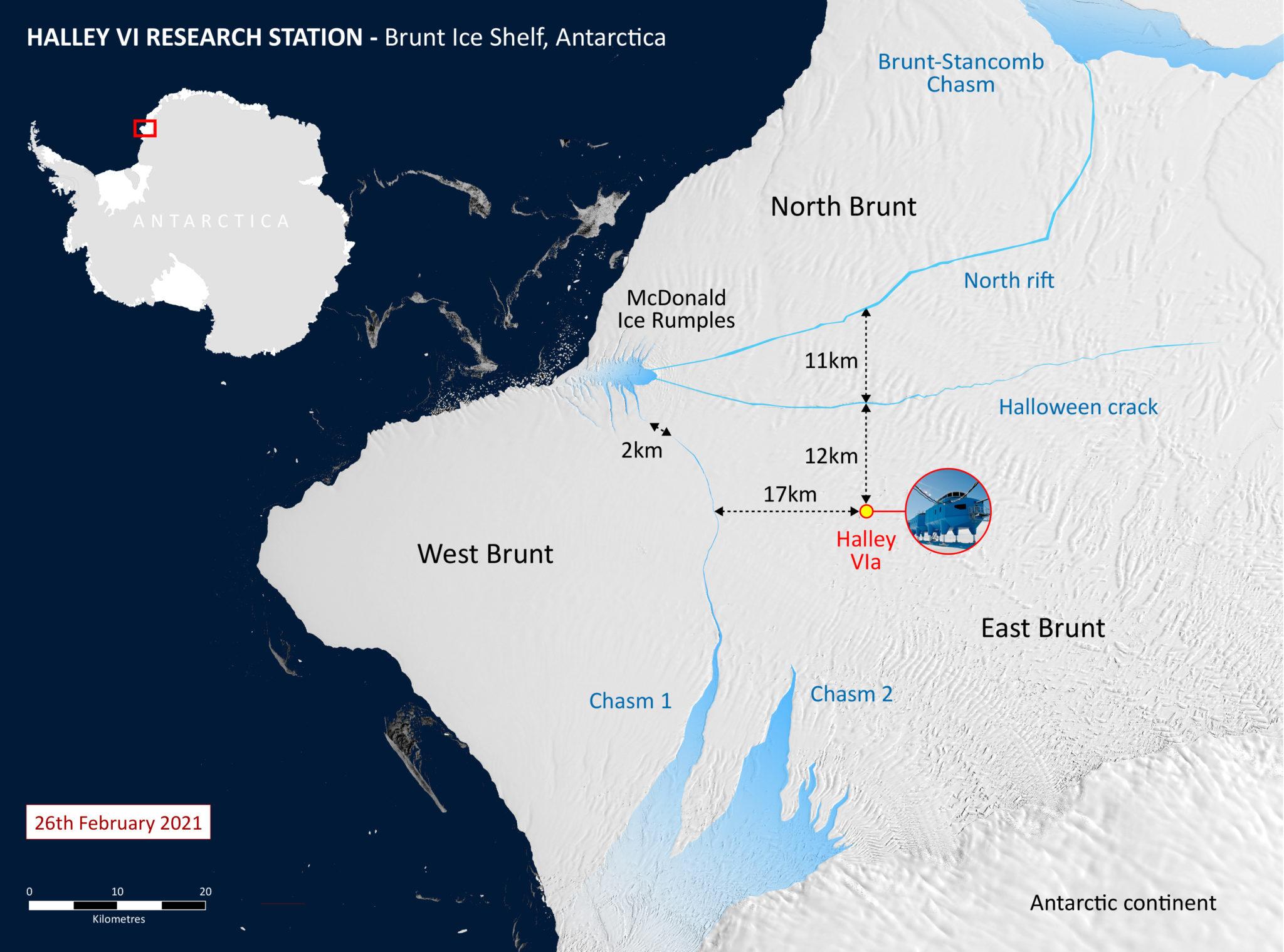 Une carte montre la station de recherche Halley VI par rapport à la fissure du rift nord.