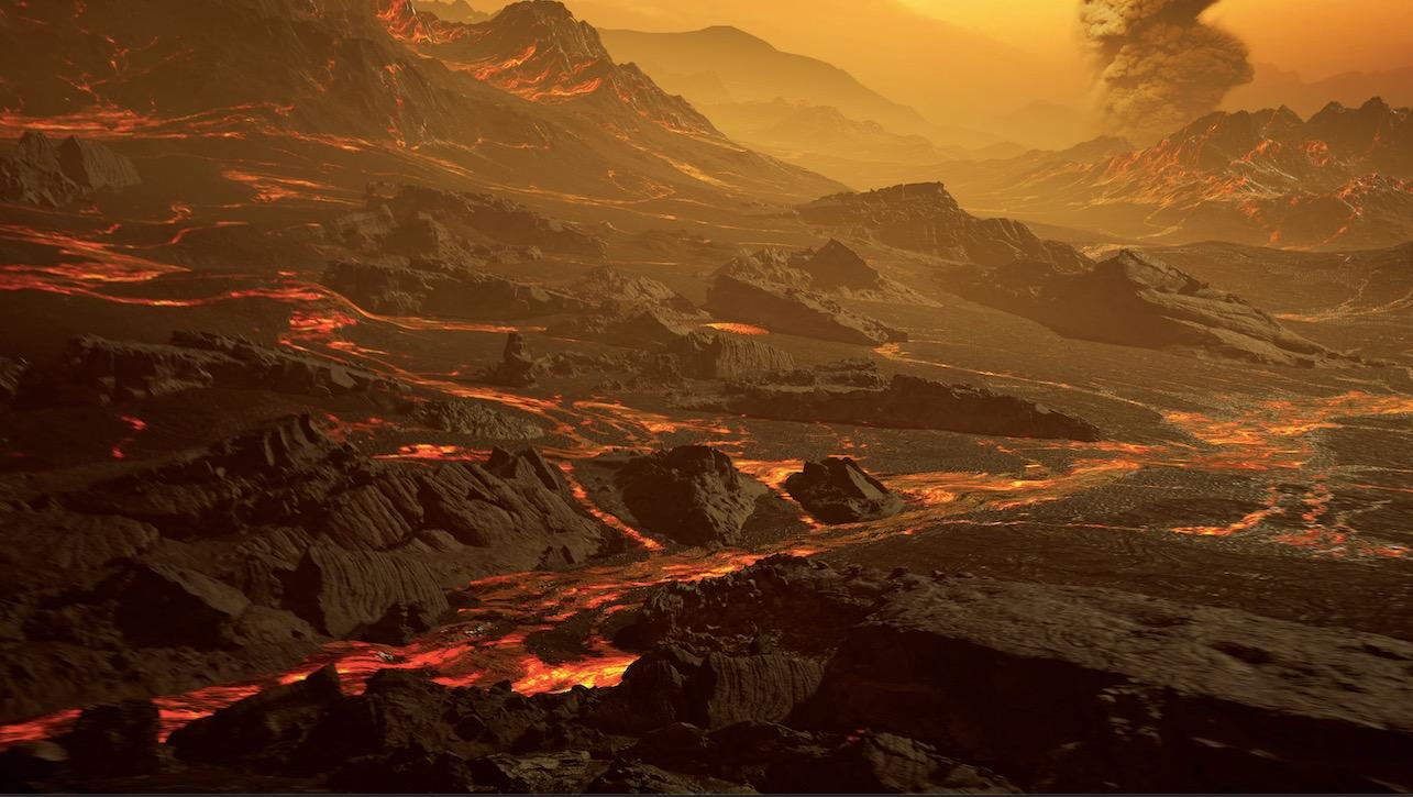 Impression artistique de la surface de l'exoplanète nouvellement découverte Gliese 486b.  Avec une température d'environ 800 degrés Fahrenheit Kelvin (430 degrés Celsius), Gliese 486b a probablement une atmosphère.