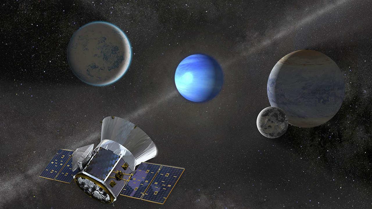 Une illustration d'artiste du vaisseau spatial TESS au travail.  Crédit image: SETI