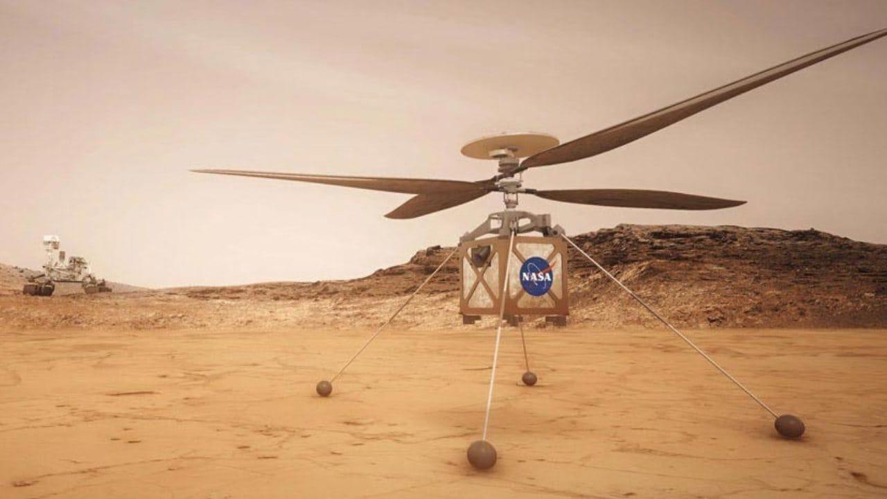 L'hélicoptère Mars, Ingenuity, est une démonstration technologique pour tester pour la première fois le vol motorisé sur un autre monde.  Il fait du stop sur le rover Perseverance.  Crédit d'image: NASA