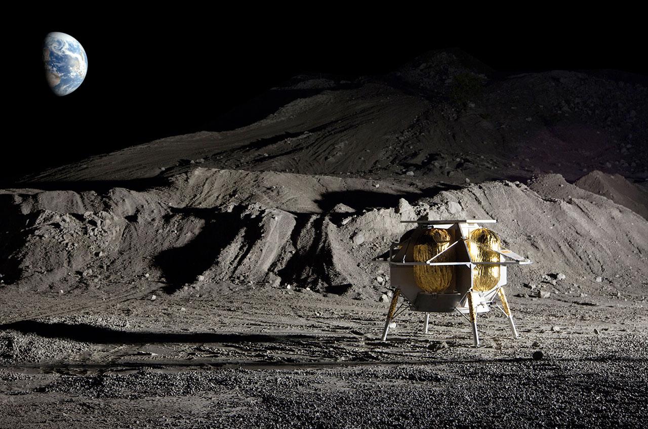 Rendu d'artiste de l'atterrisseur lunaire Peregrine d'Astrobotic après avoir atterri sur la lune.  La mission Peregrine One (PM1) de la société devrait devenir le premier atterrissage lunaire commercial et le premier vaisseau spatial américain à atterrir sur la surface de la lune depuis les missions Apollo.