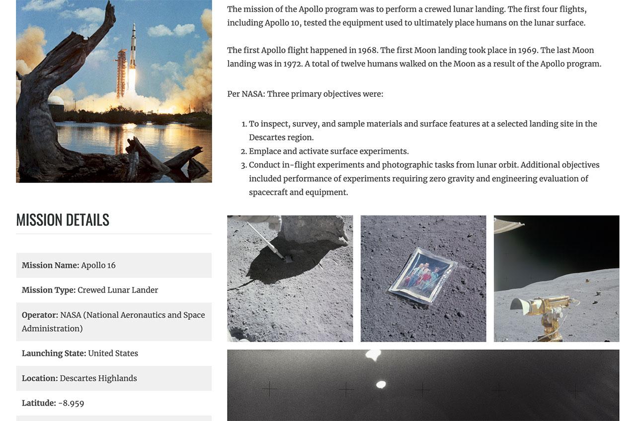 Les entrées de mission dans le registre lunaire For All Moonkind incluent les détails sur le vaisseau spatial et les objets connexes qui ont été laissés sur la surface lunaire, comme la photo de famille de Charlie Duke.