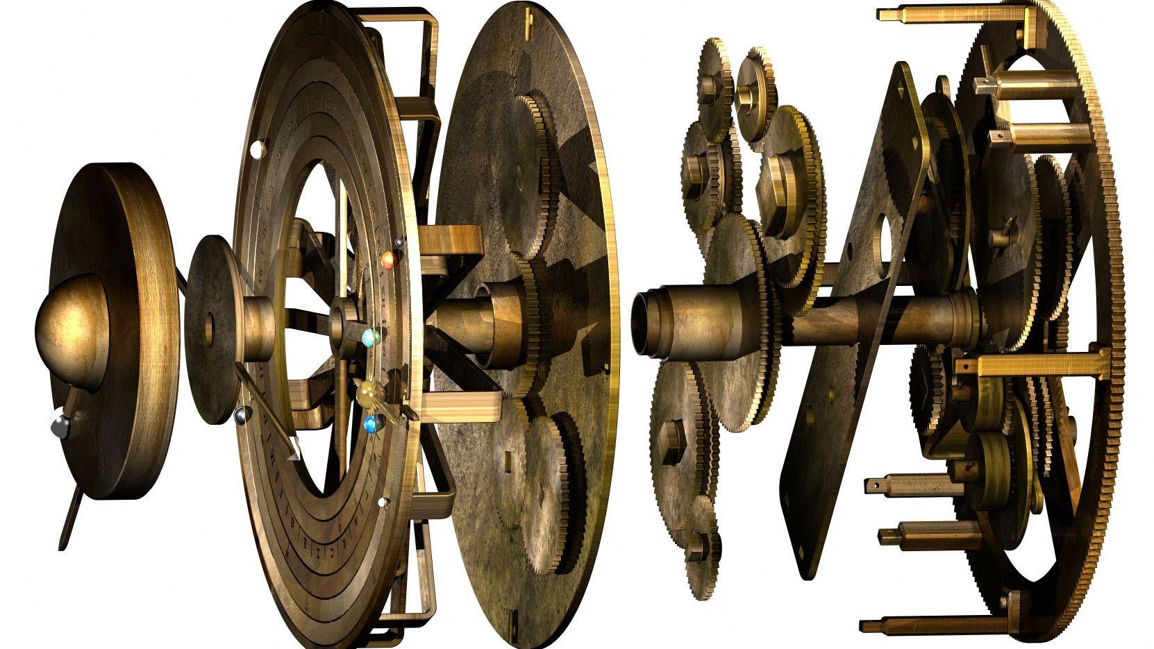 Chaque engrenage du mécanisme trace le mouvement d'un corps céleste.