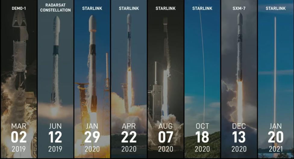 Ce graphique SpaceX montre les huit vols précédents de la fusée Falcon 9 qui ont effectué son 9e vol le 14 mars 2021.