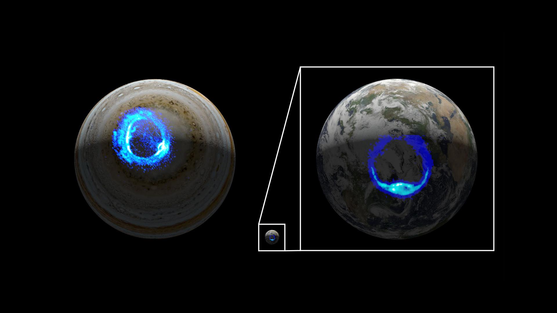 Les illustrations comparent les aurores polaires ultraviolettes sur Jupiter (à gauche) et sur la Terre (à droite, mises à l'échelle 10 fois), montrant les similitudes entre les deux types d'éclairages.