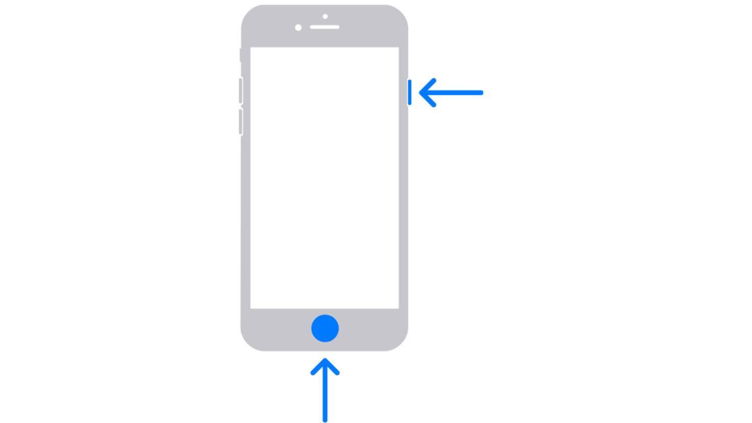iPhone avec capture d'écran du bouton d'accueil