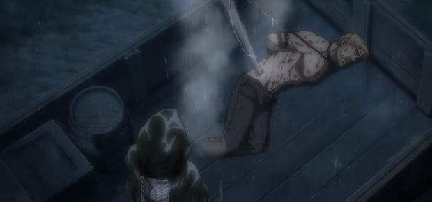 Zeke décide de faire exploser la bombe attachée à son cou.  (Photo: Crunchyroll)
