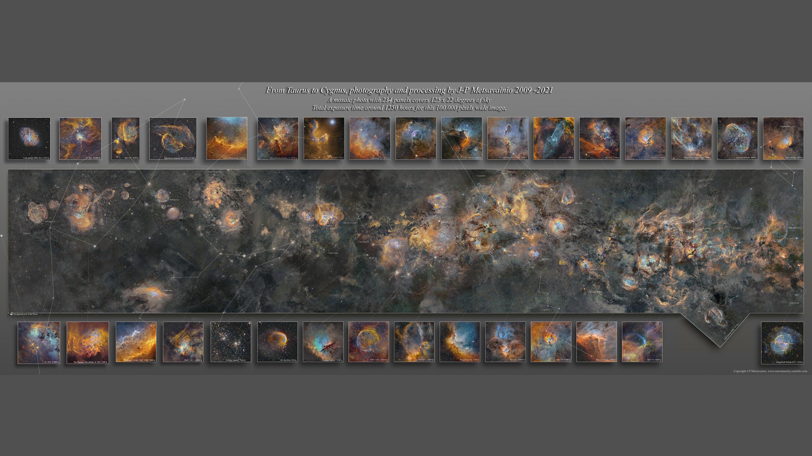 Cette image de la mosaïque de la Voie lactée montre 234 panneaux et couvre 125 x 22 degrés du ciel.
