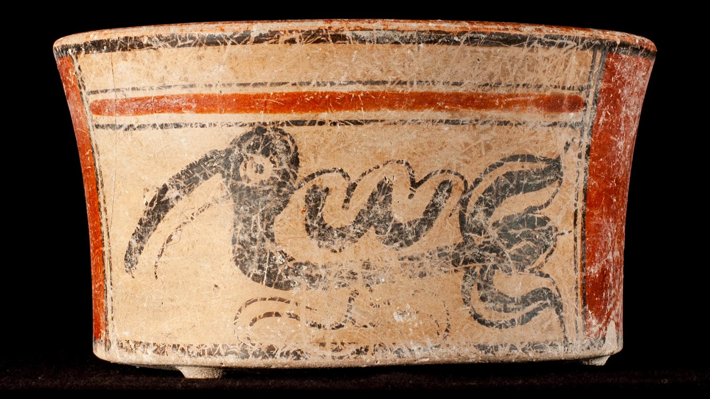 Malgré le statut d'élite de l'homme, seuls deux navires ont été trouvés dans son enterrement, dont celui-ci représentant un oiseau ressemblant à un cormoran.