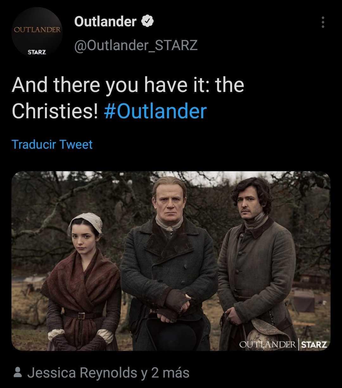 Le compte officiel d'Outlander a confirmé l'apparition des Christies.