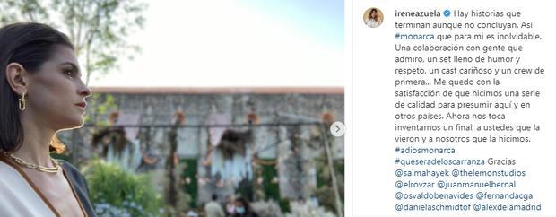 "Irene Azuela dit au revoir à ""Monarca"" (Photo: Instagram)"