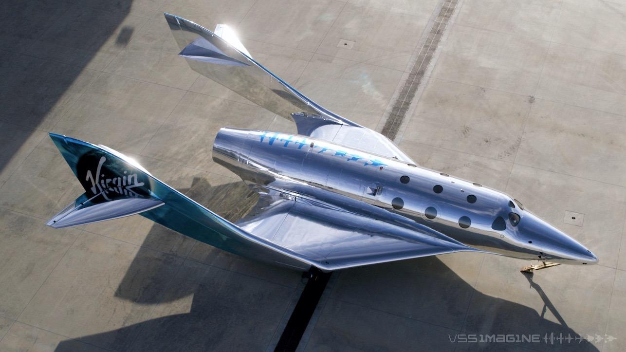 VSS Imagine partage le même plan de carrosserie de base que le VSS Unity de Virgin Galactic, un véhicule SpaceShipTwo.  Mais le nouvel avion spatial présente des améliorations améliorant les performances et une livrée semblable à un miroir.