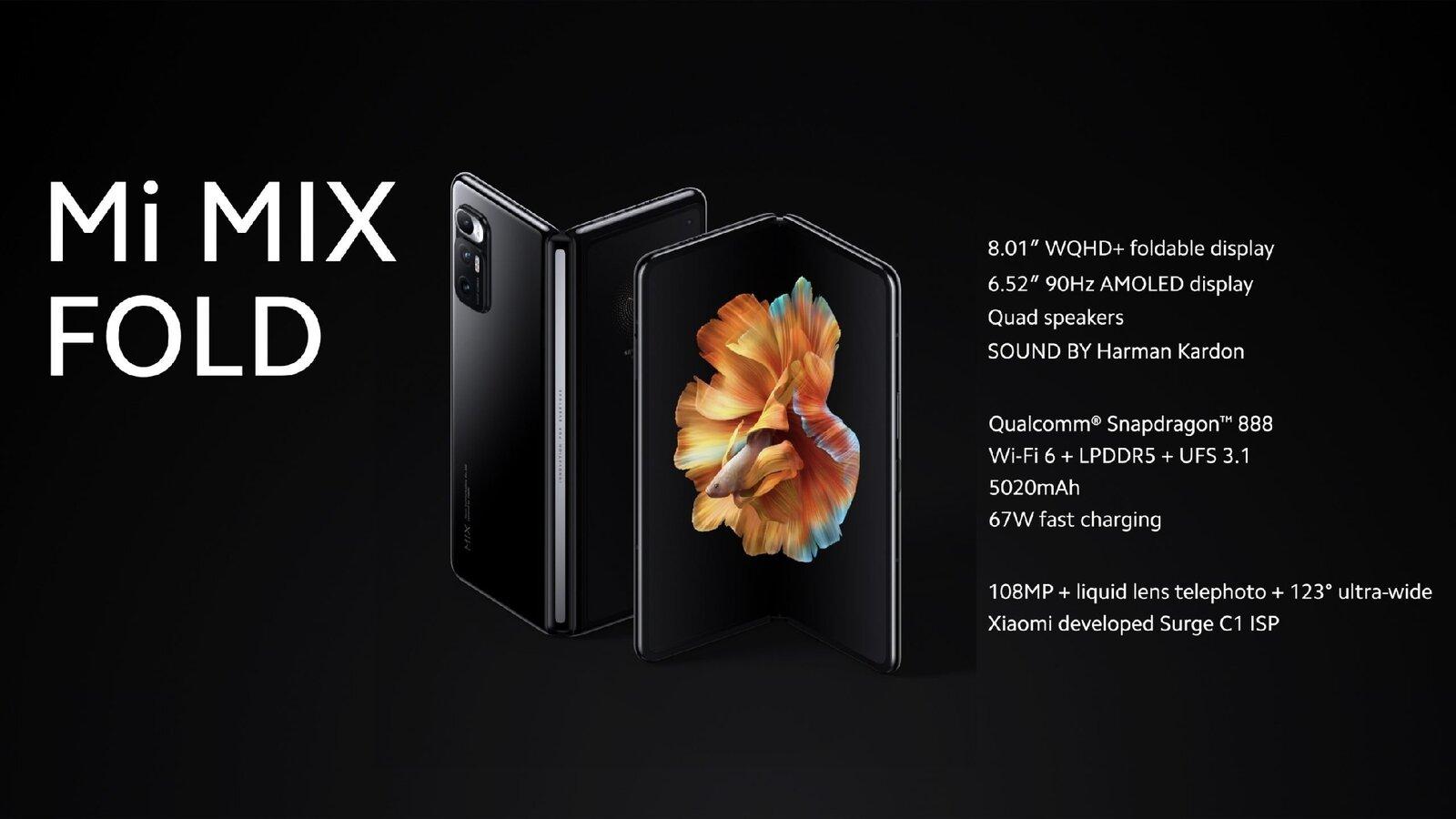 Voici les principales caractéristiques du Xiaomi Mi Mix Fold