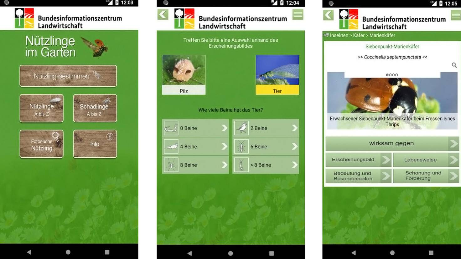 Insectes bénéfiques dans le jardin App-Google Play Store-Agence fédérale pour l'agriculture et l'alimentation