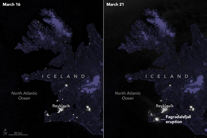 Le satellite météo NASA / NOAA Suomi NPP a capturé ces images de l'Islande avant et après l'éruption du volcan Fagradalsfjall.