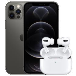 Vue avant grise de l'iPhone 12 Pro avec AirPods Pro 1