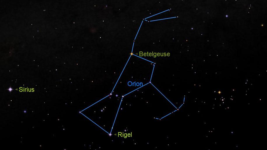 Bételgeuse et Rigel sont deux étoiles brillantes dans la constellation d'Orion, le chasseur.