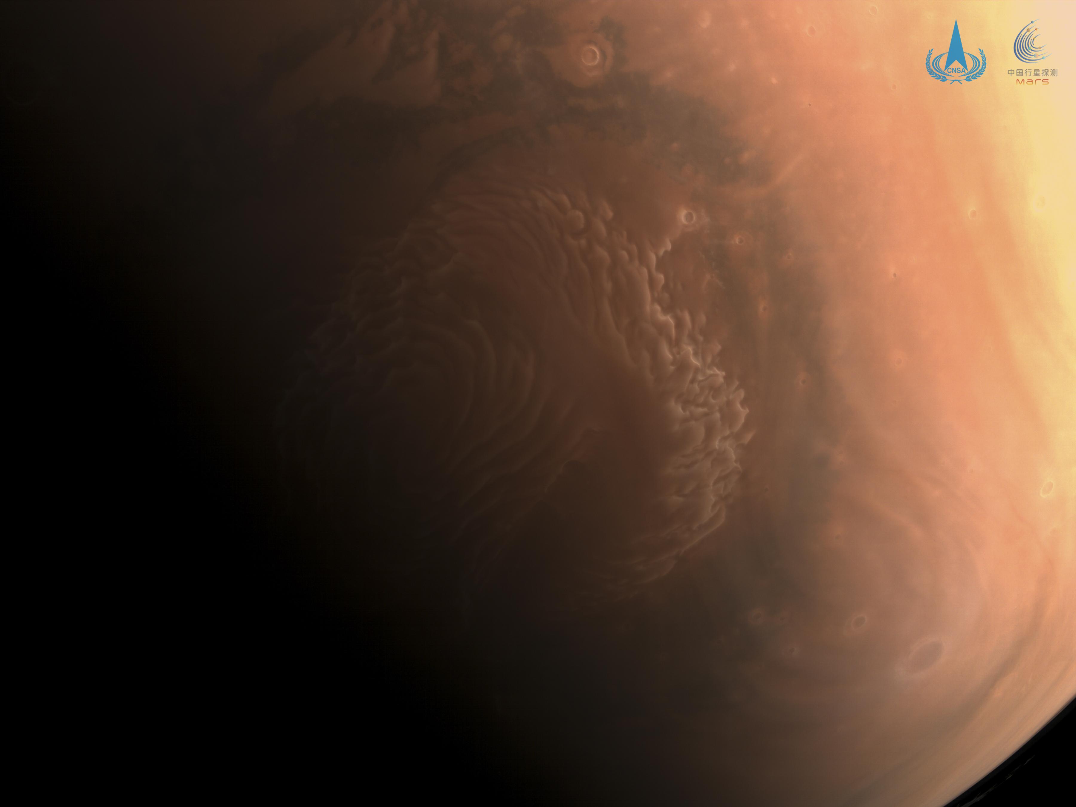 Une image du pôle nord de Mars prise par le vaisseau spatial chinois Tianwen-1.