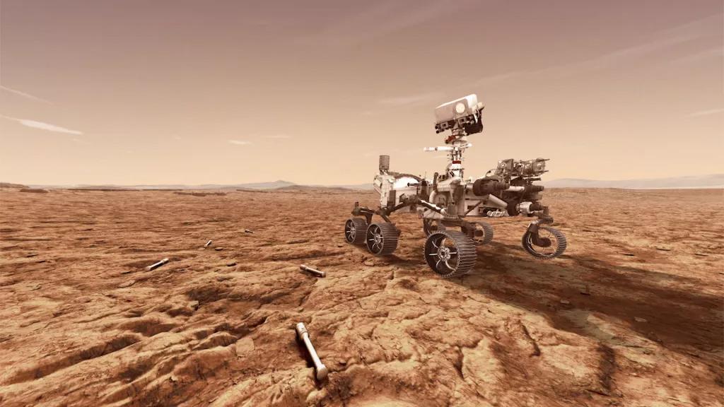Représentation d'un artiste du rover Mars 2020 de la NASA, Perseverance, stockant des échantillons de roches martiennes dans des tubes pour une future livraison sur Terre.  La persévérance atterrira dans le cratère Jezero de Mars le 18 février 2021.