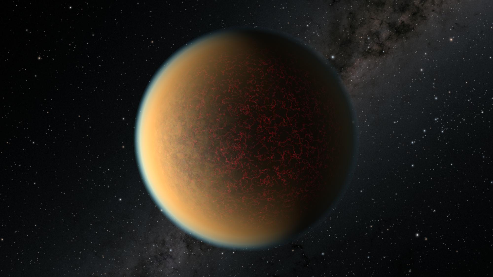 Représentation d'un artiste de l'exoplanète GJ 1132 b, qui tourne autour d'une étoile naine rouge à environ 41 années-lumière de la Terre et peut contenir de la lave suintant continuellement des fissures de sa croûte.