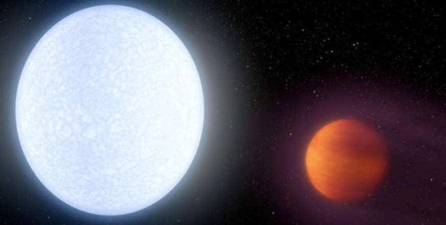Illustration de l'artiste montrant l'étoile brillante KELT-9 et sa planète ultra-chaude, KELT-9b.