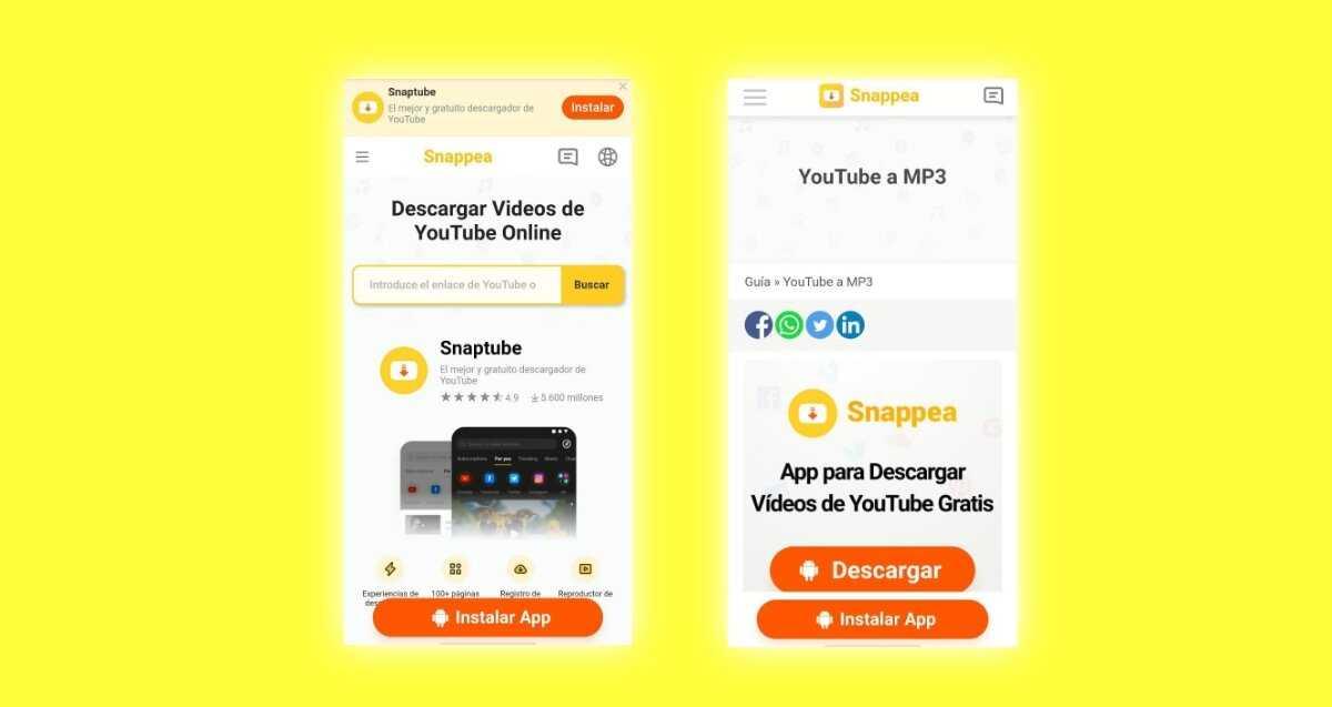 Application Snapea YouTube