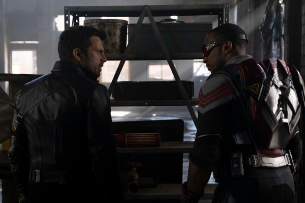 Anthony Mackie et Sebastian Stan reprennent respectivement leurs rôles de Falcon et de Winter Soldier pour la mini-série tant attendue de Marvel sur Disney +.  |  Crédit: Disney / Broadcast