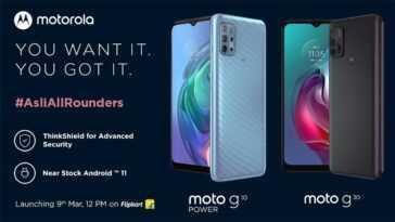 Les nouveaux Motorola G10 Power et Motorola G30, fuyés à l'avance