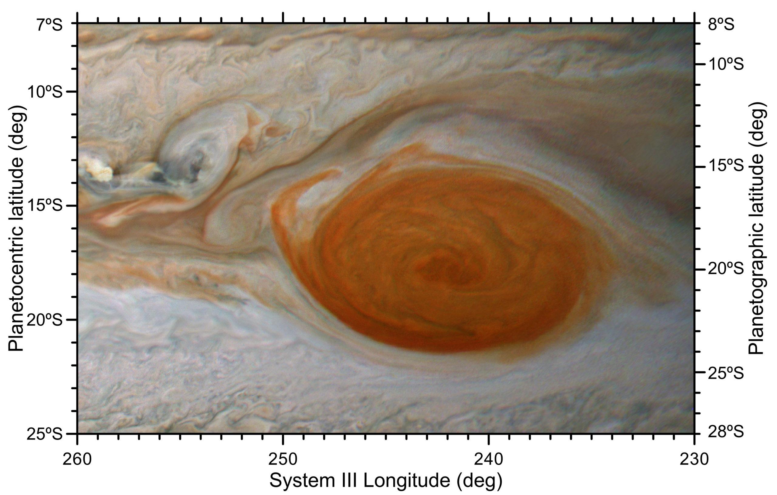 Un flocon de rouge s'écaille de la grande tache rouge de Jupiter lors d'une rencontre avec un anticyclone plus petit, comme le montre la JunoCam haute résolution du vaisseau spatial Juno le 12 février 2019. Bien que les collisions semblent violentes, les scientifiques planétaires pensent qu'il s'agit principalement d'effets de surface.