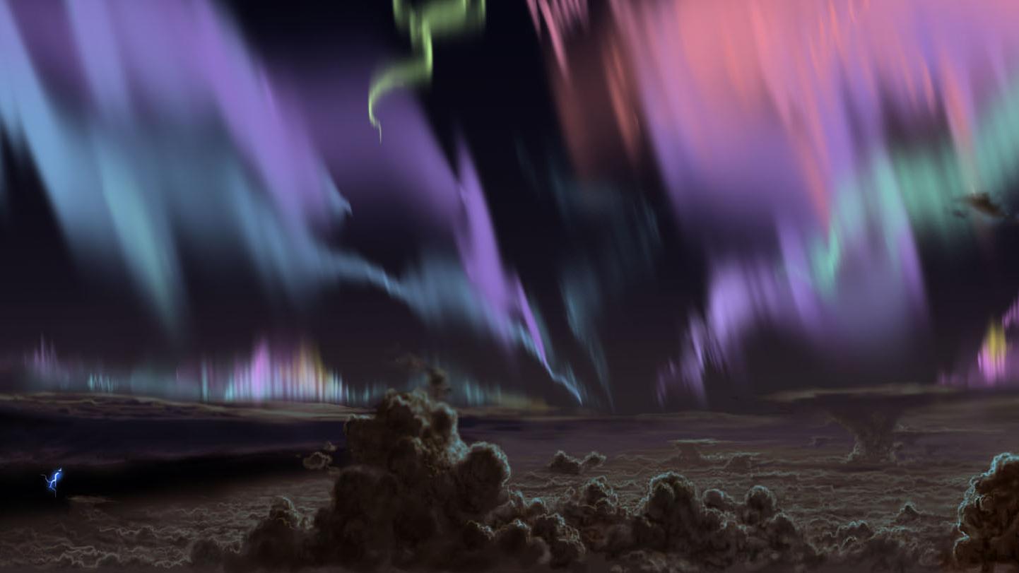 Représentation d'artiste des aurores de Jupiter vues de l'intérieur du paysage nuageux jovien.