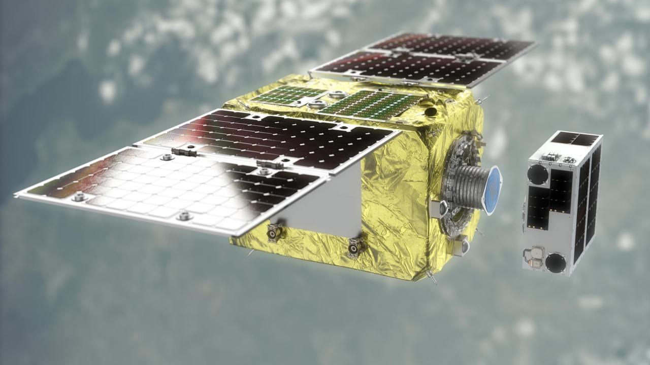 Elsa-d L'ESA fait état d'environ 9 200 tonnes de débris en orbite.  Image: Astroscale/PA