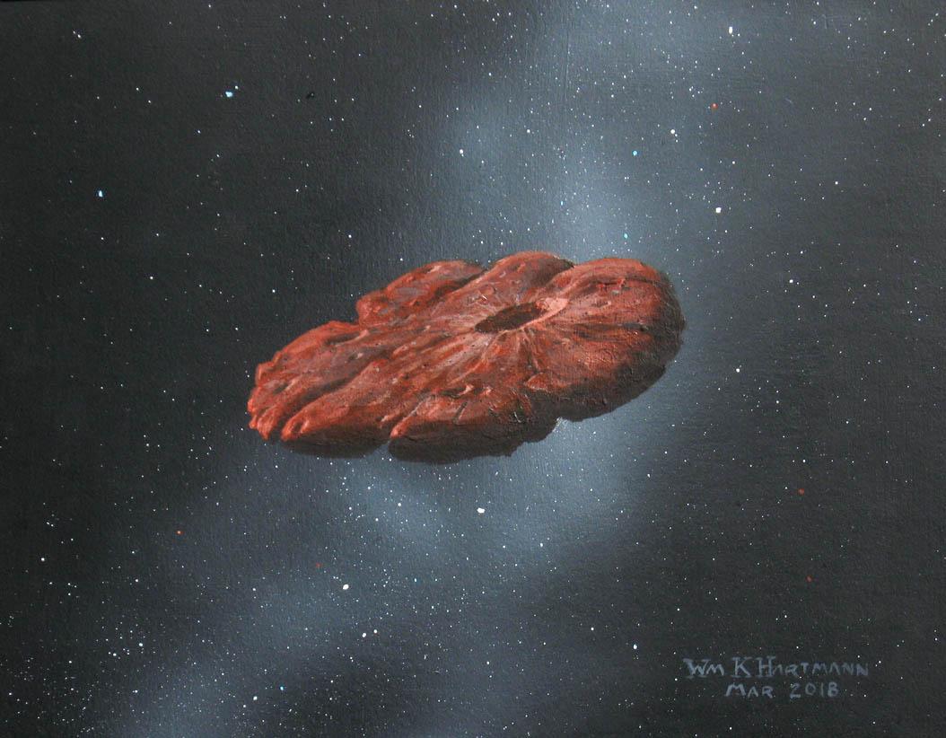 Le concept d'un artiste de l'objet interstellaire «Oumuamua» sous la forme d'un disque en forme de crêpe.  Une nouvelle étude suggère qu'il faisait autrefois partie d'une exoplanète semblable à Pluton.
