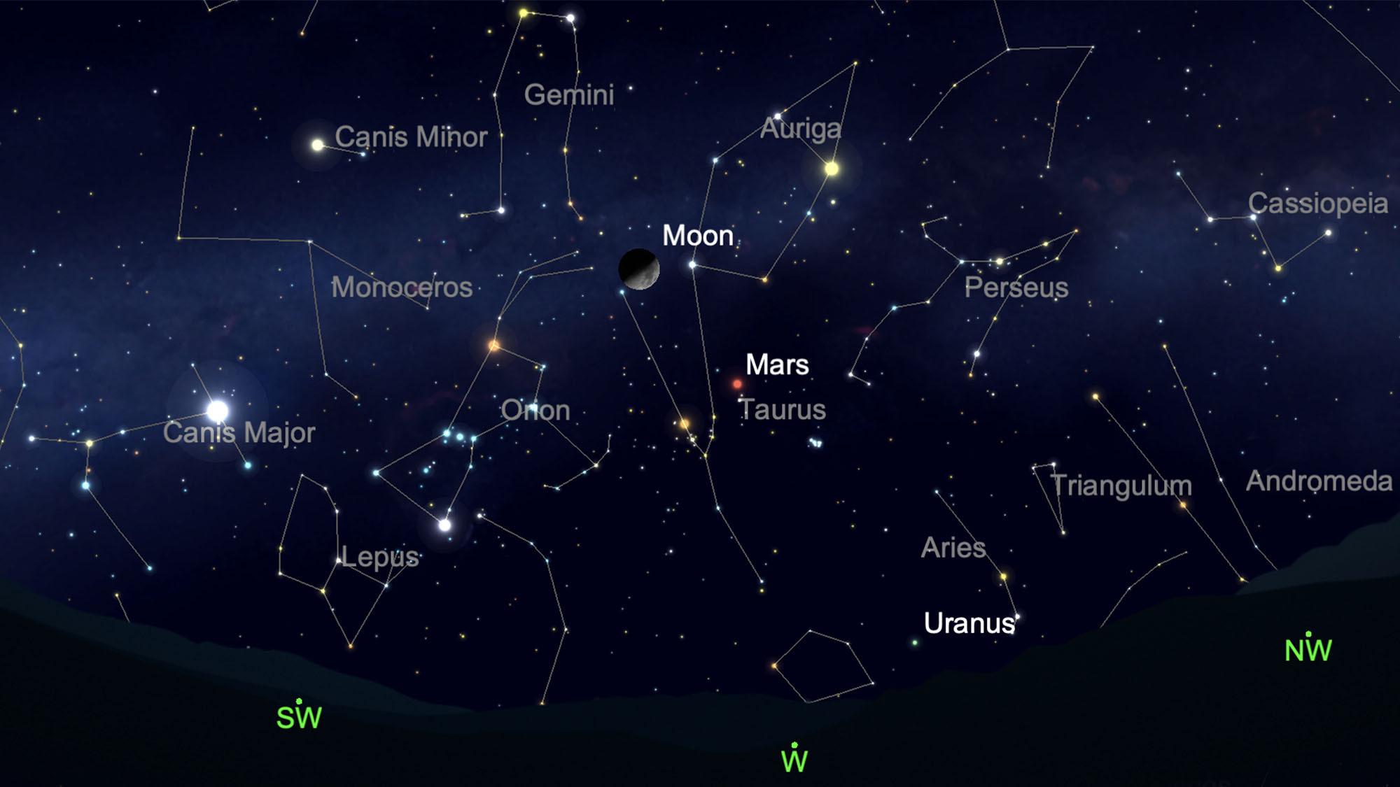 Cette carte du ciel montre où repérer la constellation d'Orion depuis l'hémisphère nord dans le ciel nocturne le 20 mars 2021.