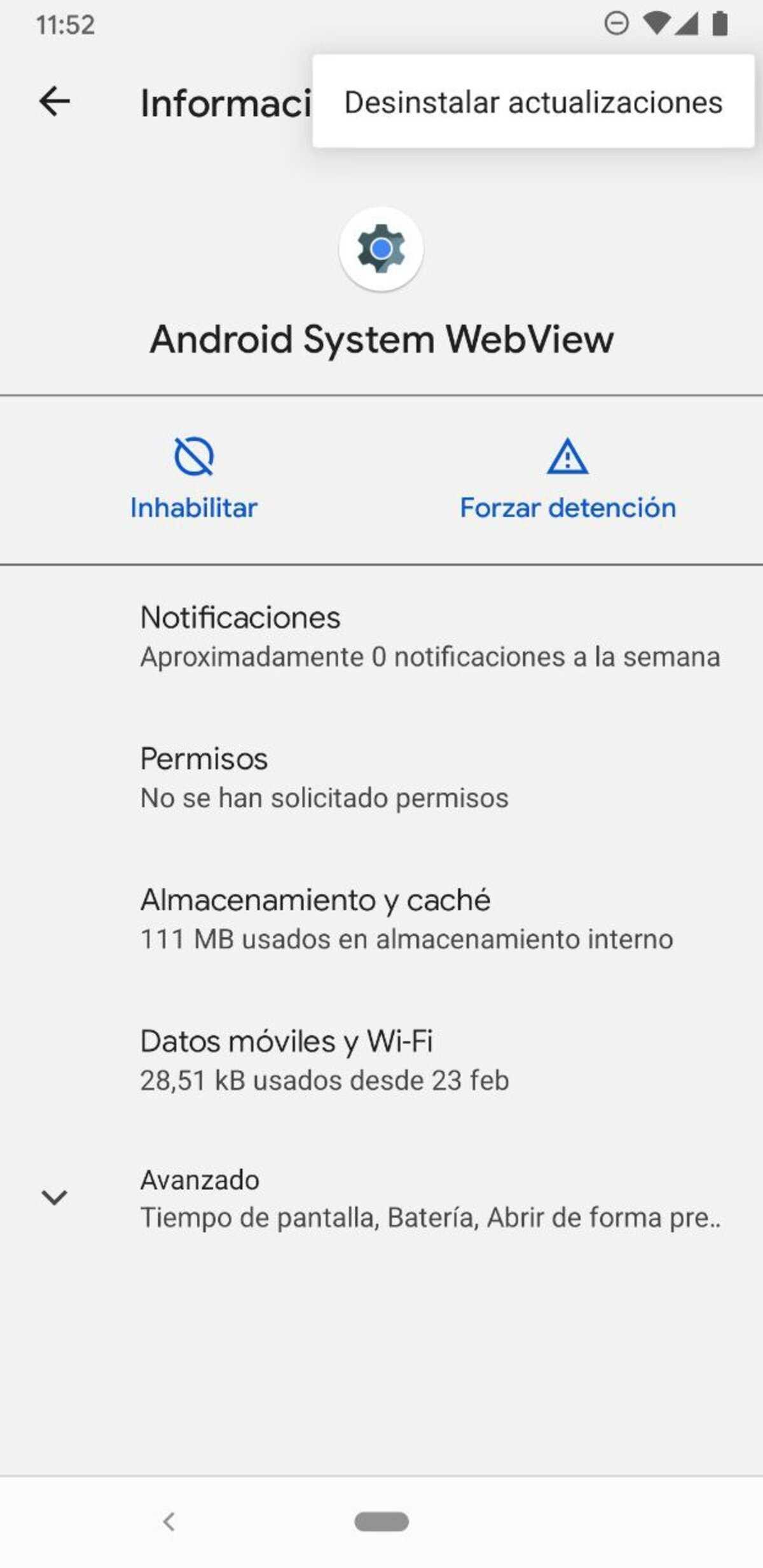 Désinstaller les mises à jour du système Android WebView