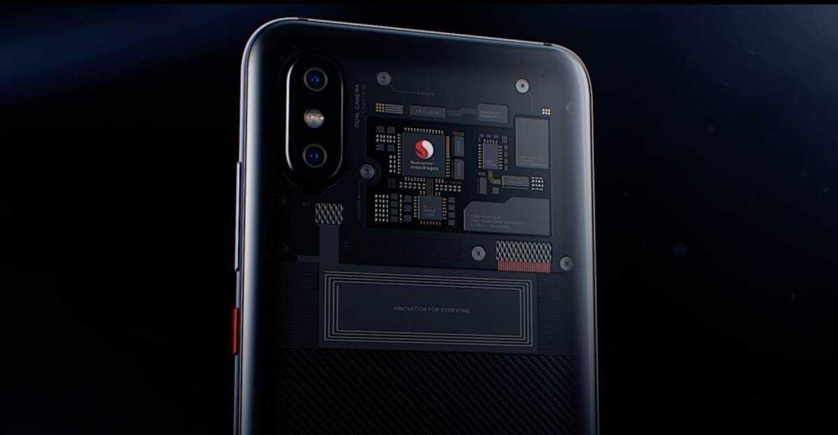 Xiaomi Mi 8 Explorer Edition, avec Qualcomm à l'arrière.